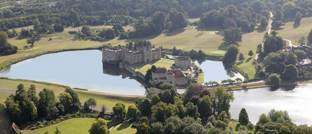 The castle has beautiful moats and 500 acres of grounds.